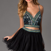 Two Piece A-Line Prom Dress by Dave and Johnny