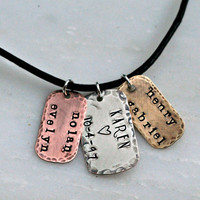 Hand Stamped Mens Dog Tag Necklace Hand Stamped Jewelry Personalized Necklace Rustic Tags
