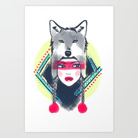 Girl with wolf hat Art Print by DejaLiyah