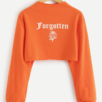 Letter Print Crop Sweatshirt EmmaCloth-Women Fast Fashion Online