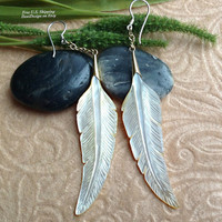 """Tribal Hanging Earrings, """"Shell Feathers"""" Naturally Organic, Mother of Pearl, Brass Chains, Sterling Hooks, Hand Carved"""