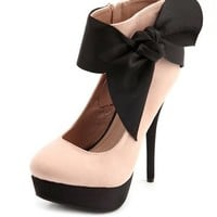 Satin Ankle-Bow Sueded Pump: Charlotte Russe