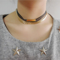 Gold Plated Chain Double Chocker Necklace
