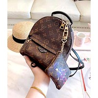 Louis Vuitton LV new classic old flower retro wild shoulder slung portable female bag backpack two-piece