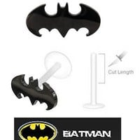 Batman Bat man Black Bat Official Licensed DC Comics Flex Flexible Bioplastic Labret Monroe lip tragus piercing bar Ring 16g