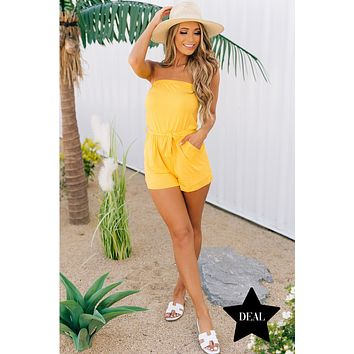 Morning Madness Strapless Romper (Yellow)