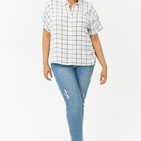 Plus Size Grid Print Shirt