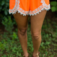 Crochet Trim Shorts in Orange