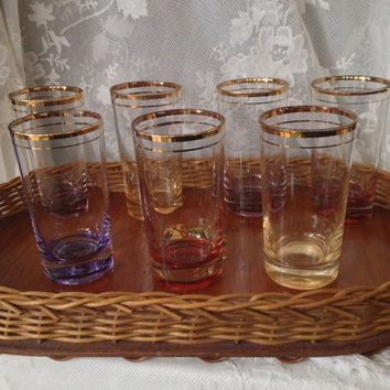 Jewel Tone Highball Glasses, Federal Glass Flashed Colored Bottom, Gold Rims, Mid Century Barware