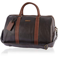 Brown textured contrast strap holdall  - holdalls - bags / wallets - men