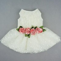 Fitwarm® High Quality Luxury Rose Lace Pet Dog Weddding Dress Bride Clothes Formal Apparel, X-small