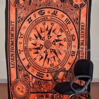 Beautiful Horoscope Tapestry Indian Astrology Tapestry Hippie Orange Tapestry Indian Zodiac Wall Decor Bed Cover Bed Sheet Decorative Art