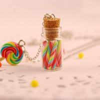 candy cane jar necklace lollipop necklace by SweetArtMiniatures
