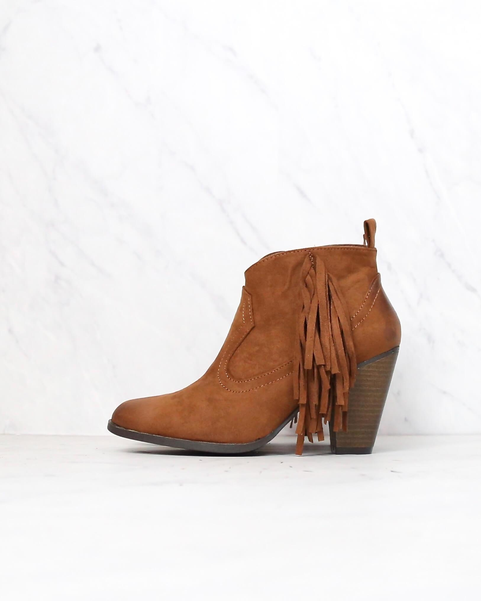 Image of Final Sale - Cara Fringe Ankle Boots in Rust