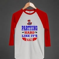 PARTYING HARD LIKE IT'S 1776 BASEBALL TEE