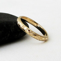 Gold Floral Wedding Band Women's Gold Wedding Ring Floral Pattern Gold Wedding Bands 14k Gold Wedding Rings Engagement Ring Gift for Her Mom