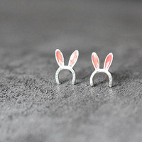 Pink Rabbit Ears Earrings, Sterling Silver Rabbit Stud Earrings, Animal Earrings, Rabbit Girl Earrings Studs, Rabbit Jewelry, gift for her