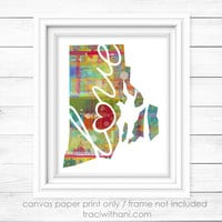 Rhode Island Love - RI Canvas Paper Print:  A Modern and Colorful Abstract Watercolor Style Original Digital Art Piece / Home State Love
