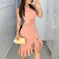 2020 new women's pink one-shoulder twisted dress