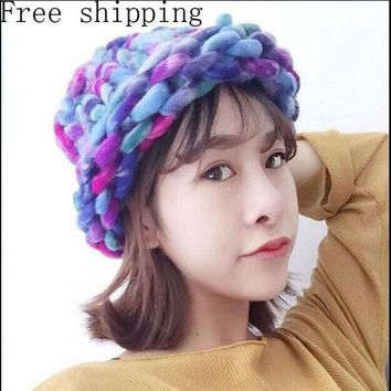CREYU3C Fashion Women Hat Super Thick Yarns Hand Woven Knitted Hat Winter Warm Slouch Beanie Ski Cap Coarse Line Thick Wool Crochet Hat