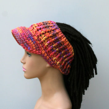 Custom color Ponytail hat, Visor Dread Tube cap, billed dread tube, dread band, open back beanie