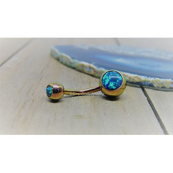 Blue opal belly button ring 14g titanium anodized hypoallergenic VCH curved barbell