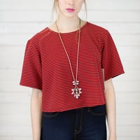BCBG Passion Stripe Boxy Top
