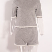 Short Sleeve Round Neck Contrast Trim Top and Elastic Waist Shorts