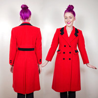 vintage Rothschild long red coat xs / wool peacoat jacket xs / red trenchcoat xs
