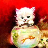 Vintage Kitsch Kittens and Goldfish Florence Kroger Litho in U.S.A. - Adorable Wall Hanging