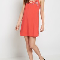 Red Floral Embroidered Lattice Dress   Casual Dresses   rue21