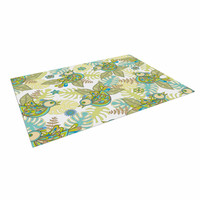 "Julia Grifol ""Summer Birds"" Green Lime Indoor / Outdoor Floor Mat"