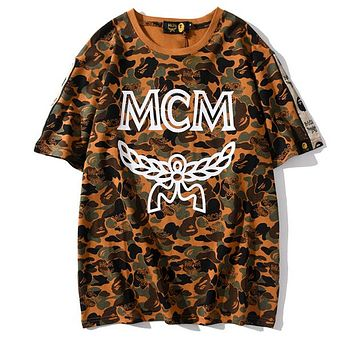 MCM x Bape Aape Hot Sale Women Men Personality Camouflage Print T-Shirt Top
