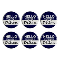 Dillan Hello My Name Is Plastic Resin Button Set of 6