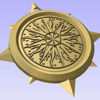 Stl 3d model of COMPASS SHAPED PENDANT or decoration for cnc carving vectric aspire cut3d artcam 3d printer.