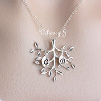 Family tree initial necklace, Personalized necklace, TWO initials leaf necklace, Mother and child, new baby, Couple necklace, Friendship