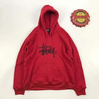 Stussy Round-neck Pullover Hoodies Couple Jacket Top Sweater Red I-A-XYCL Tagre™