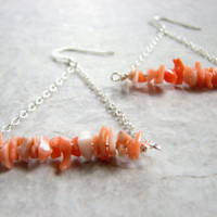 Sterling Silver Coral Earrings, Peach Bar and Chain Triangle Earring, Modern Geometric Chain Hoops, Coral Jewelry