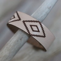 Natural Aztec - Leather Cuff Bracelet
