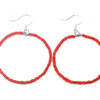 Red Seed Bead Hoop Earrings , Beaded Hoop Earrings , Glass Bead Earrings , Fashion Jewelry , Jewelry Gifts , Gifts for her , Christmas