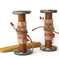 Vintage Wood Candlestick - Textile Spool - Cottage