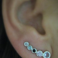 Ear Pin Sweep Wrap - Cuff Earring with CZ stone - 925k Silver - Pair