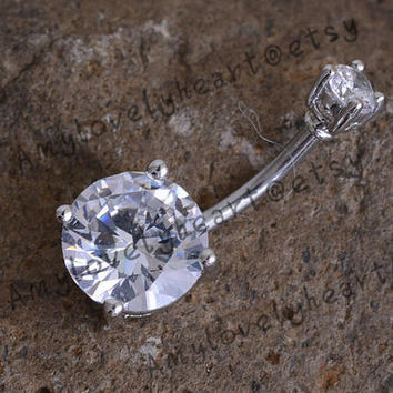 Glitter White Snowflake Belly Button Ring-14g-Winter Dangle-Navel Body Jewelry 1//2