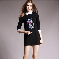 Black Cat Print Sleeve Peter Pan Collar Dress