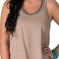 Panhandle Slim Women's Tan with Multi Embroidered Neckline Racer Back Tank Fashion Top