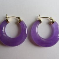 New! 14k Solid Gold Chinese Round Purple Jade Earrings - 10.99g