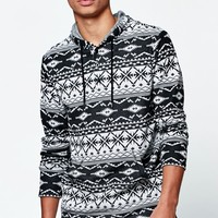 Jacquard Hooded Long Sleeve Shirt