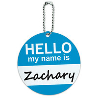 Zachary Hello My Name Is Round ID Card Luggage Tag