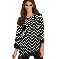 Calessa Grommet-Trimmed Chevron Asymmetrical Tunic - Black/White