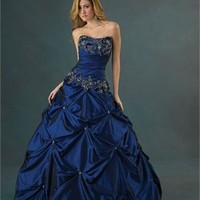 Charming Beaded Embroidery Hollow Back Ball Gown Quinceanera Dress QD076